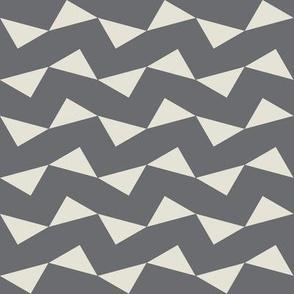 Tri Zag No. 4 - Linen Triangles on Taupe