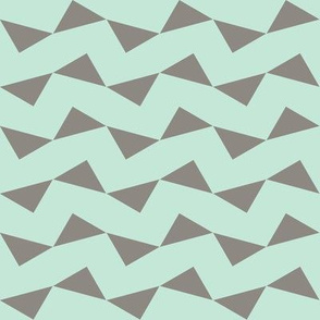 Tri Zag No. 6 - Taupe Triangles on Teal