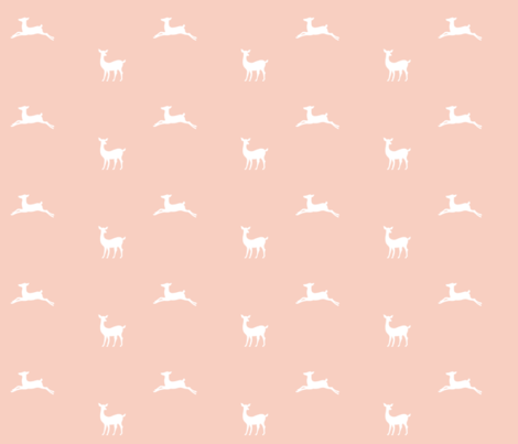 Deer 2 - MED58  peach white fabric by drapestudio on Spoonflower - custom fabric