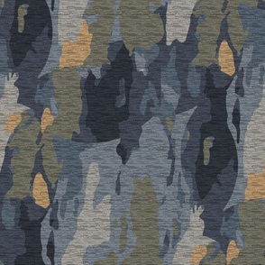 Navy Blue Yellow Gold Gray Grey Camouflage_Miss Chiff Designs