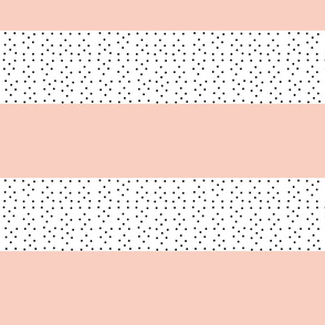 Shabby Chic Stripes MED - peach black polka dots