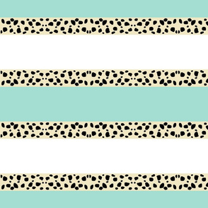 Cheetah Stripes Horizontal  -  Mint Snow