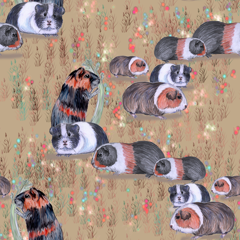 Guinea Pig Conga Line fabric by eclectic_house on Spoonflower - custom fabric