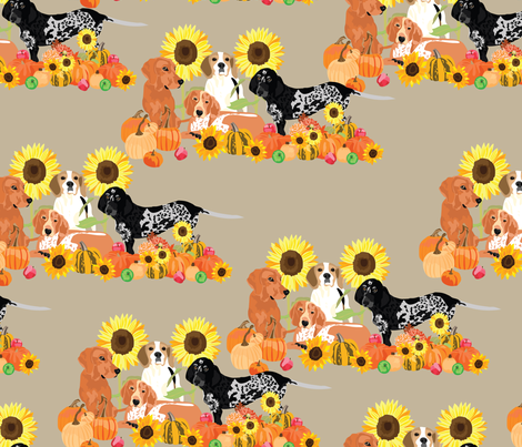 coonhound-autumn fabric by vieiragirl on Spoonflower - custom fabric