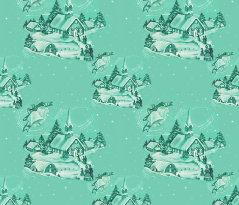 Vintage Christmas Church fabric by santasworkshop on Spoonflower - custom fabric