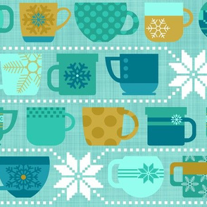 Snow Day Cocoa Mugs & Fuzzy Sweaters - Mint and Gold