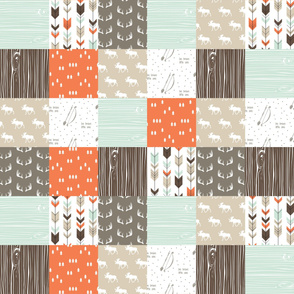 "7"" patchwork wholecloth (moose) - mint/dark brown/citrus orange"
