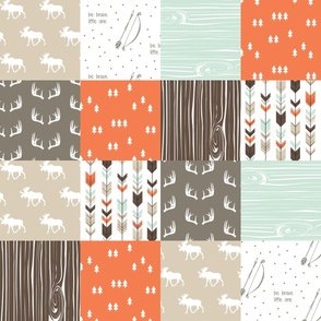 woodland patchwork - mint/dark brown/tan/citrus orange