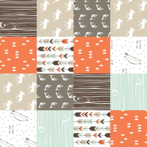 woodland patchwork (90)- mint/dark brown/tan/citrus orange