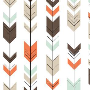 fletching arrows - mint/dark brown/tan/citrus orange wholecloth coordinate