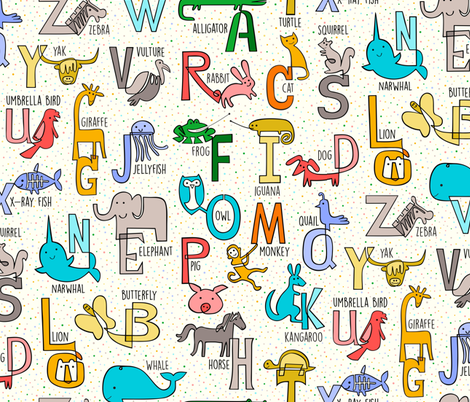 One-liner Alphabet Animals fabric by chris_jorge on Spoonflower - custom fabric