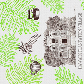 Hawaii's Plantation Village Tea Towel