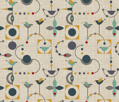 birdland geometric larger fabric by vo_aka_virginiao on Spoonflower - custom fabric