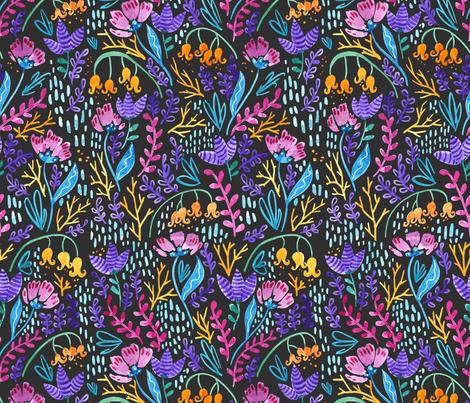 Wonderland Flowers Dark Grey fabric by kitcronk on Spoonflower - custom fabric
