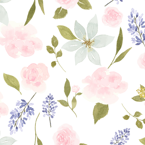 Lavender and roses fabric by mintpeony on Spoonflower - custom fabric