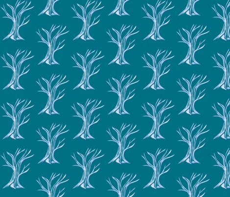 Windswept WinterTrees on Teal fabric by rhondadesigns on Spoonflower - custom fabric