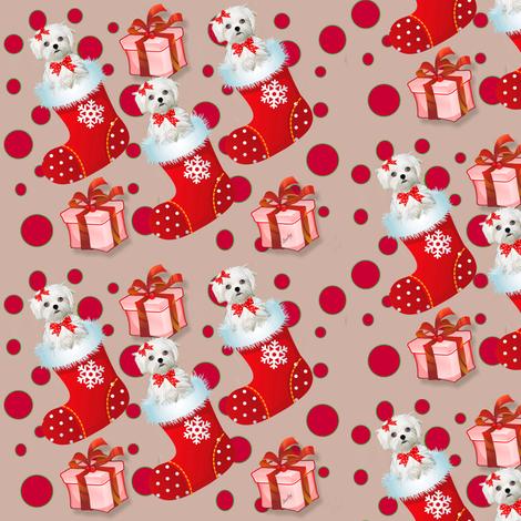 Maltese xmas  fabric by barbyyy on Spoonflower - custom fabric