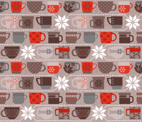 Snow Day Cocoa Mugs & Fuzzy Sweaters - Cocoa & Red fabric by run_quiltgirl_run on Spoonflower - custom fabric