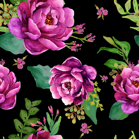 Pink Sunrise - Black fabric by shopcabin on Spoonflower - custom fabric