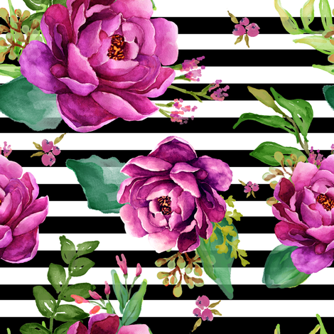 Pink Sunrise Black And White Stripes Fabric Shopcabin Spoonflower