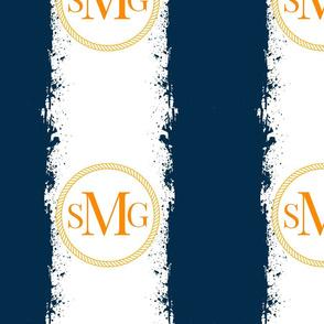 Tie Dye 12x12 in darkest navy orange Personalized SMG