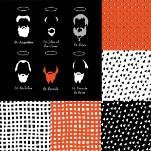 Saintly Beards cheater quilt patchwork black white orange