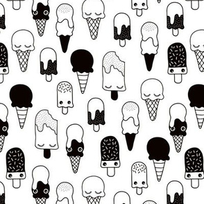 Colorful sweet summer ice cream popsicle sugar kawaii illustration black and white