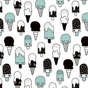 Colorful sweet summer ice cream popsicle sugar pastel mint kawaii illustration