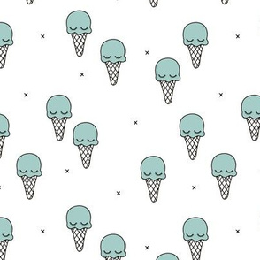 Sweet summer ice cream popsicle sugar pastel mint kawaii illustration