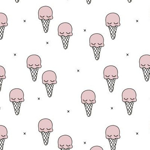 Sweet summer ice cream popsicle sugar pastel pink kawaii illustration