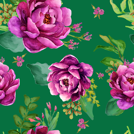 Pink Sunrise - Green fabric by shopcabin on Spoonflower - custom fabric