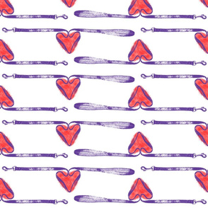 Dog leashes of love - purple on white