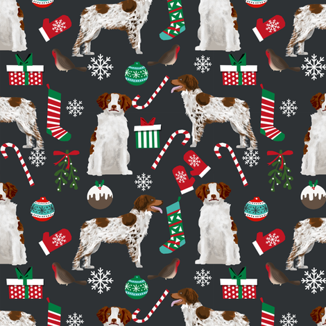 brittany spaniel christmas fabric cute xmas holiday dog design fabric by petfriendly on Spoonflower - custom fabric