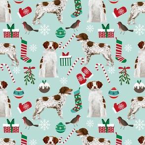 brittany spaniel christmas fabric cute xmas holiday dog design
