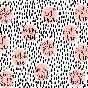 hand-lettered french phrases // summer coral