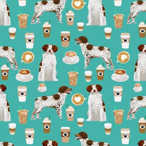 brittany spaniel coffee fabric cute coffees lattes dog fabric sporting dogs fabric