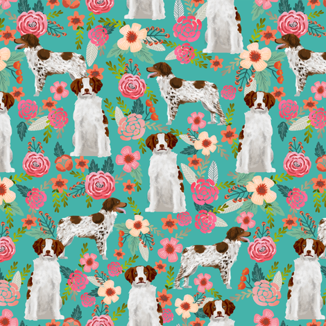 brittany spaniel florals fabric cute painted floral dog fabric dogs sporting dog dog fabrics for quilters fabric by petfriendly on Spoonflower - custom fabric