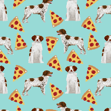brittany spaniel pizza fabric cute sporting gun dog pizza design best pizza fabric fabric by petfriendly on Spoonflower - custom fabric