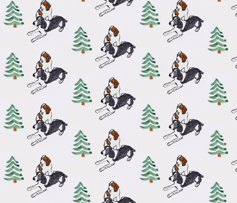Springer_Outdoor  Winter Scene fabric by sleepingdogquilts on Spoonflower - custom fabric