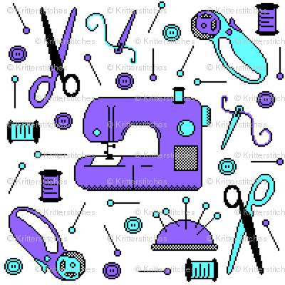 Stitch-bit | Purple & Cyan on White