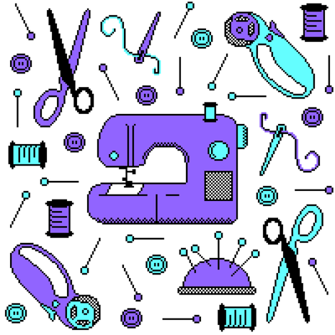 Stitch-bit | Purple & Cyan on White fabric by robinskarbek on Spoonflower - custom fabric