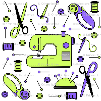 Stitch-bit | Lime & Purple on White