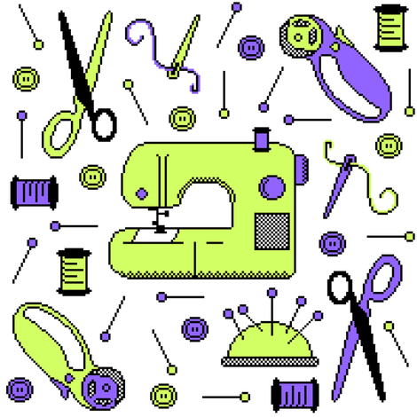 Stitch-bit | Lime & Purple on White fabric by robinskarbek on Spoonflower - custom fabric