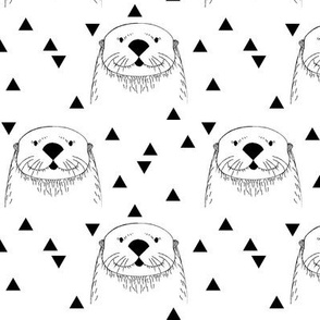 otters on white