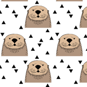 brown otters on white