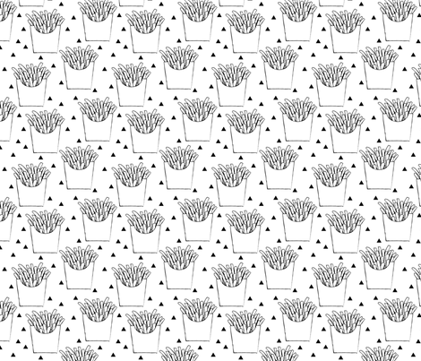 french-fries-black-and-white fabric by lilcubby on Spoonflower - custom fabric