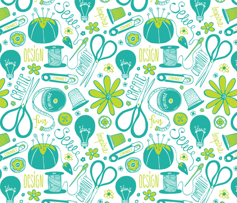 Design Sew Create - Large Scale Sewing Typography White Aqua Green fabric by heatherdutton on Spoonflower - custom fabric