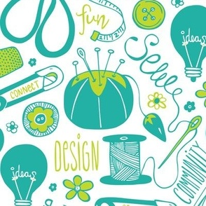 Design Sew Create - Large Scale Sewing Typography White Aqua Green