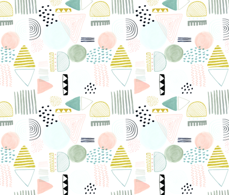 Abstract Pattern - muted pastel colours fabric by emilyhamiltonillustration on Spoonflower - custom fabric