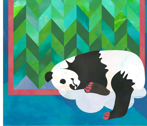 Sleeping Panda Bear Quilt fabric by jvclawrence on Spoonflower - custom fabric
